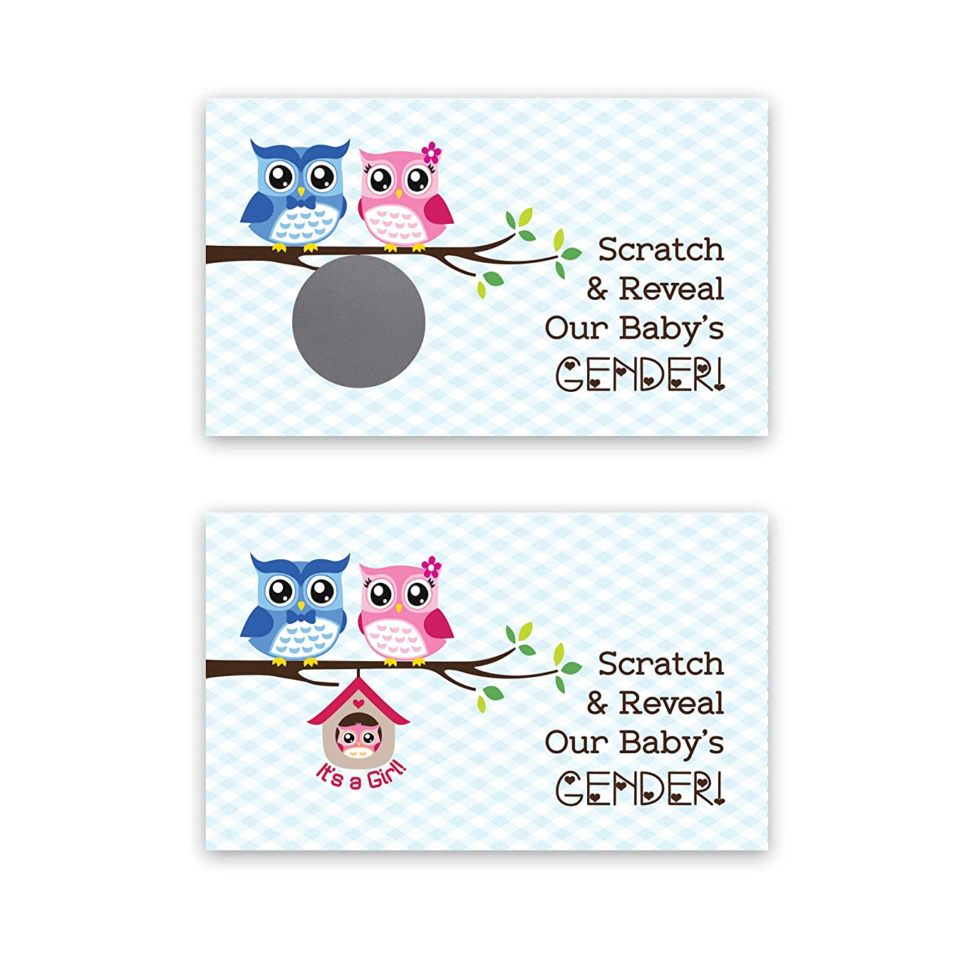 Whimsical Owl - It's a Girl! - Gender Reveal Scratch Off Cards - 25 Pack - My Scratch Offs