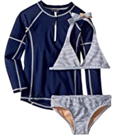 Sweet Nautical Stripe Bikini & Rashguard Set (Infant/Toddler/Little Kids/Big Kids)
