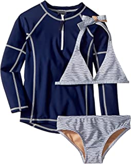 Sweet Nautical Stripe Bikini & Rashguard Set (Infant/Toddler/Little Kids/Big Kids)