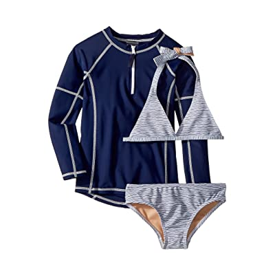 Toobydoo Sweet Nautical Stripe Bikini Rashguard Set (Infant/Toddler/Little Kids/Big Kids) (Blue) Girl