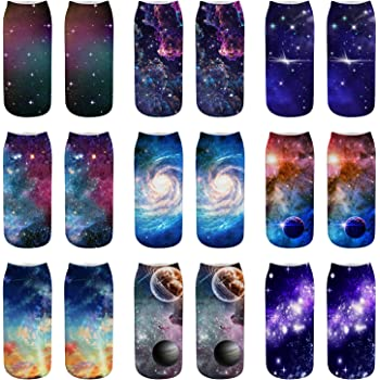 Ladies//Girls Black Glittery Get Lost In Space Planets Cotton Ankle Socks