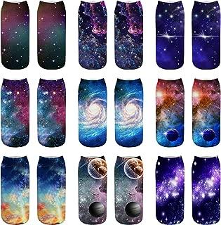 AnVei-Nao Womens Girls Star Sky Universe Short 3D Pattern Printed Socks 9 Pack
