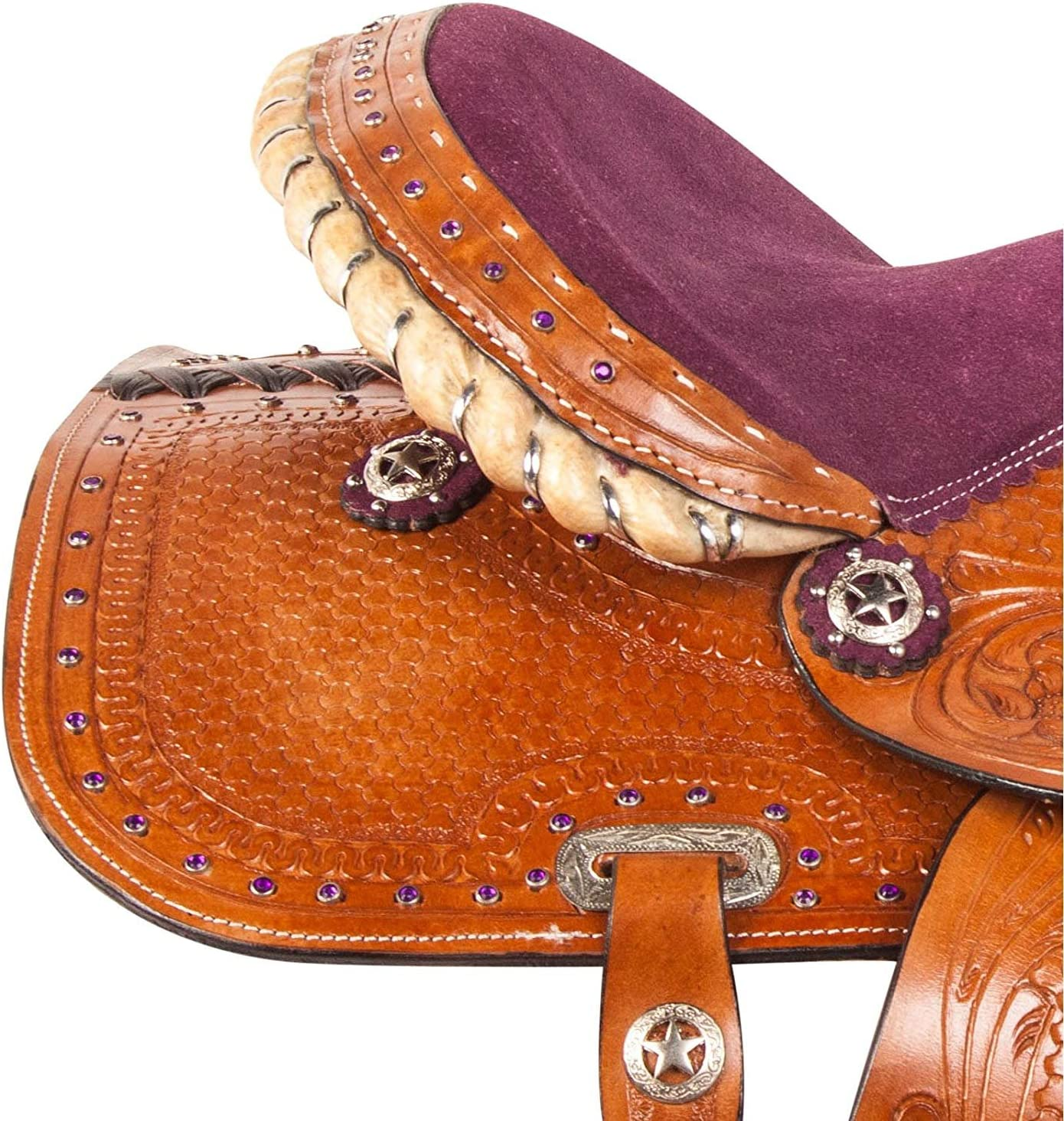"""HEADSTAAL Y/&Z Enterprises 10/"""" 11 12/"""" Turquoise Crystal Youth Child Western Beautiful Pleasure Trail Premium Leather Pony Horse Saddle Breast Collar,Stirrup"""