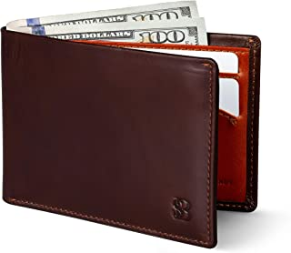 Mens Slim Bifold Wallet RFID Blocking Minimalist Front Pocket Wallets for Men - Thin & Stylish