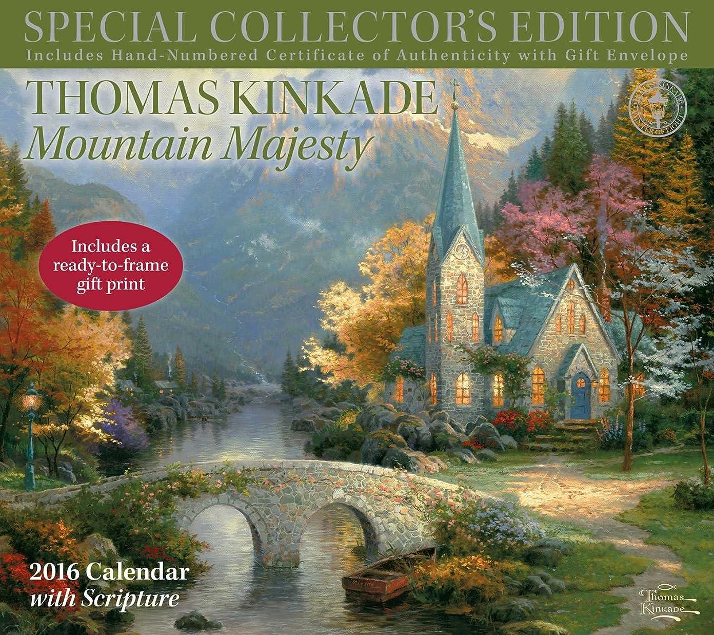 犯す抽象アマチュアThomas Kinkade Special Collector's Edition with Scripture 2016 Deluxe Wall Calen: Mountain Majesty