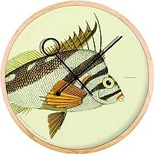Cloudnola Chilodactylus Vittatus Fish Wood Wall Clock and Wall Decor, 16.5 inch Diameter, Silent Non Ticking, Battery Operated Quartz Movement