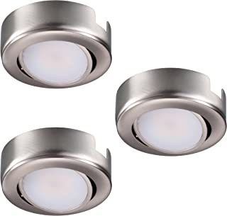 GetInLight Dimmable and Swivel, LED Puck Lights with ETL List, Recessed or Surface Mount Design, Warm White 2700K, Brushed Nickel Finish, (Pack of 3), IN-0107-3-SN