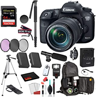 Canon EOS 7D Mark II DSLR Camera with 18-135mm f/3.5-5.6 is USM Lens (9128B135) Professional Bundle �SanDisk Extreme Pro 64gb SD + Extra Battery for LPE6 + 72� Tripod + More