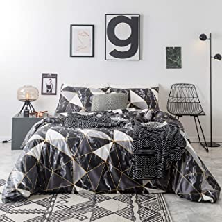 YuHeGuoJi 3 Pieces Duvet Cover Set 100% Cotton King Size Geometric Marble Pattern Bedding Set 1 Grey Triangle Print Duvet Cover with Zipper Ties 2 Pillowcases Hotel Quality Soft Durable Lightweight