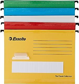 Esselte 93042 Classic A4 pionowe pilniki do zawieszenia - różne kolory, opakowanie 10 szt.