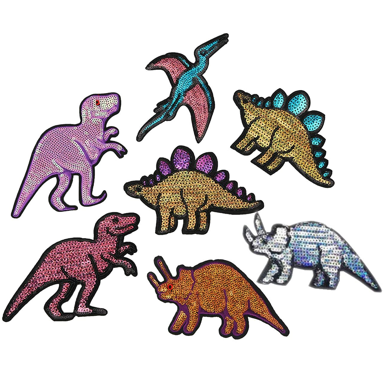 7 Pcs Sequins Animal Dinosaurs Stickers Embroidered Sewing On Patch for Jeans T-Shirt Coat Applique DIY Accessory