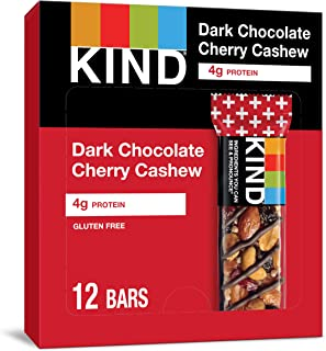 KIND Bars, Dark Chocolate Cherry Cashew + Antioxidants, Gluten Free, 1.4 Ounce Bars, 12 Count (Packaging May Vary)