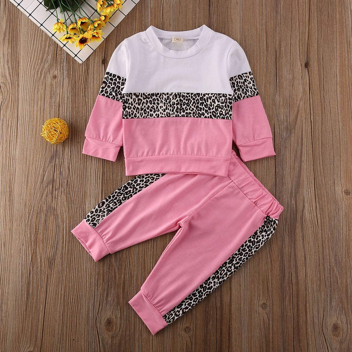BOIZONTY Toddler Baby Girls Leopard Print Outfits Fall Winter Clothes Pullover Sweatshirt Tops Long Legging Pants Tracksuit
