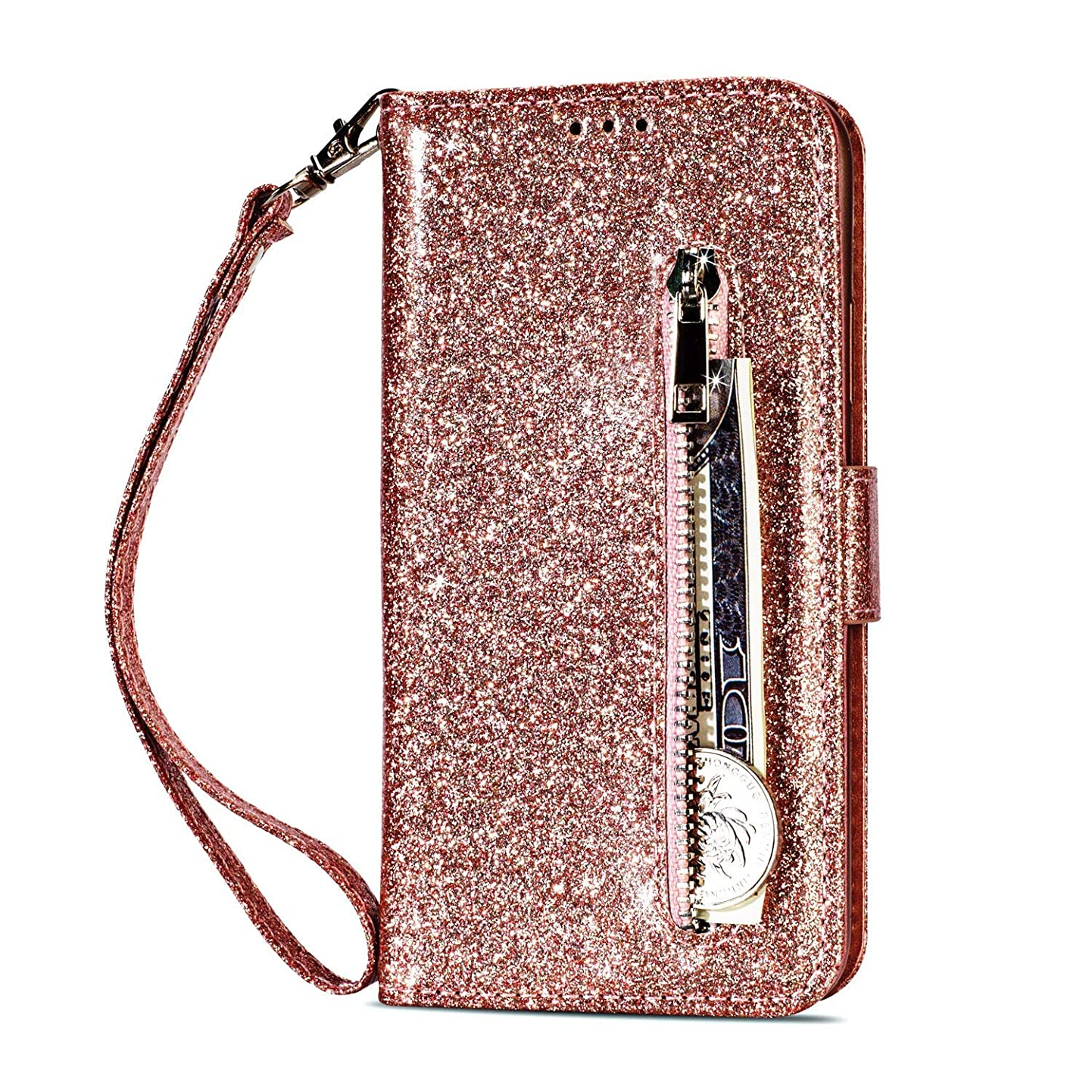 Folice iPhone 7 Plus Zipper Wallet Case, Bling Glitter Leather Case with Card Holder Cash Pocket and Hand Strap Zipper Flip Magnetic Closure Stand Cover for Apple iPhone 7 Plus / 8 Plus (Rose Gold) mxnjornajmt3