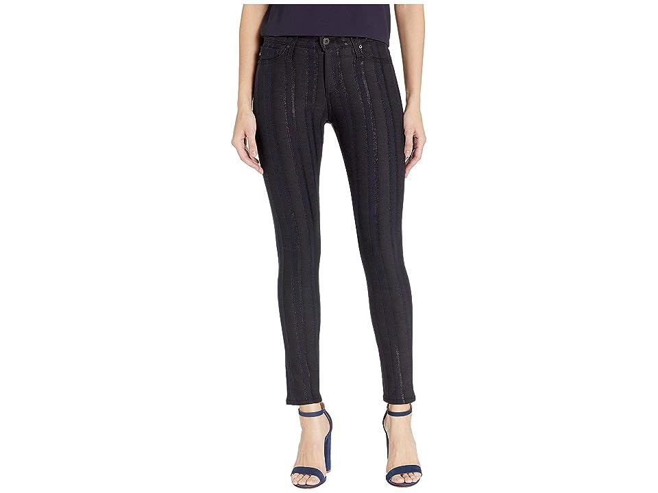 Image of AG Adriano Goldschmied Farrah Skinny Ankle in Gunmetal Metallic Stripe (Gunmetal Metallic Stripe) Women's Jeans