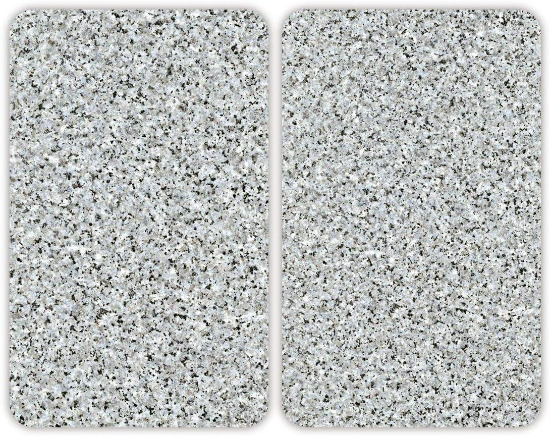 WENKO Cubierta de cocina Universal Granito, juego de 2 piezas para todos los tipos de cocinas, Vidrio endurecido, 30 x 1.8-5.5 x 52 cm, Multicolor
