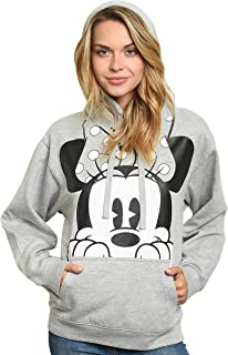 Disney Women's Hoodie Minnie Mouse Peeking Pullover Sweatshirt
