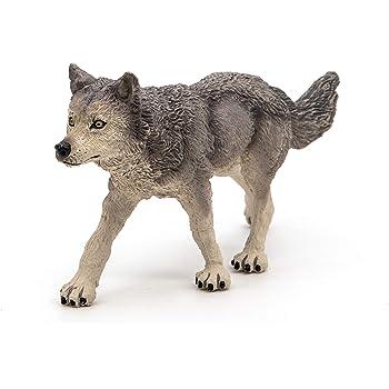 Nouveau Papo 53012 loup gris FIGURE LIBRE jouet jeu de haute qualité durable Belle