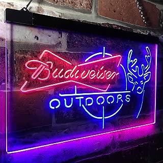 zusme Budweiser Outdoor Hunting Cabin Deer Decor Novelty LED Neon Sign Blue + Red W16 x H12