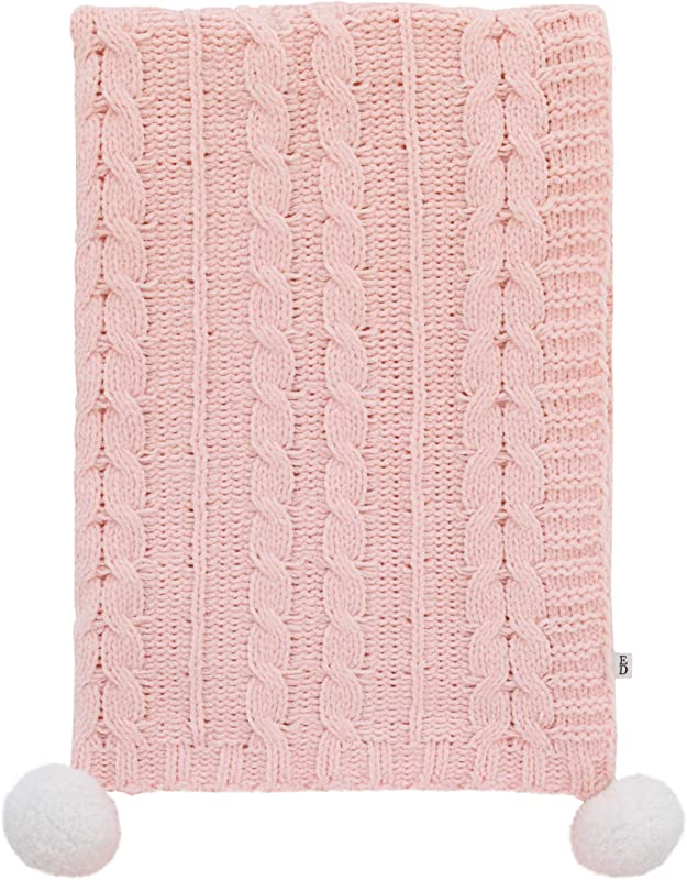 ED Ellen DeGeneres Painterly Floral Soft Plush Pink Chenille Cable Knit Baby Blanket With Pom Poms Pink White