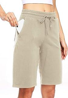 "Women's 10"" Cotton Long Shorts Bermuda Shorts Athletic Workout Yoga Lounge Shorts Pajama Shorts with Pockets"