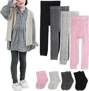 4 Pairs Girls Leggings Pants Sock Set Footless Knits...