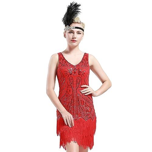 dca78f229 BABEYOND 1920s Flapper Dress Fringed Gatsby Dress V Neck for Women