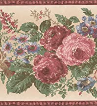 x 8 in Norwall Prepasted Wallpaper Border 7.5 by 5 Yards Vintage Rouge Pink Beige Roses White Wall Border Retro Design,Roll 15 ft