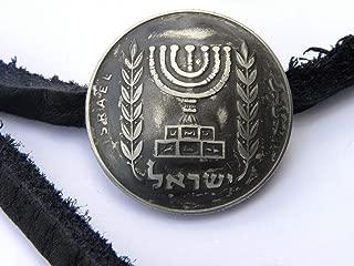 Cuff wrap bangle Jewish Bracelet wristband Israel Menorah coin sterling silver ring soldered Buffalo Bison leather Hanukkah Bar Bat mitzvah