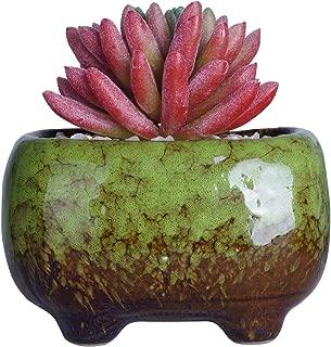 Succulent Pots | Ceramic Bonsai Pot with Drainage Rectangular Flower Plant Cactus Planter, 4.8x3.4x3 inch, Green