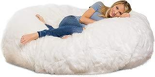 Comfy Sacks 6 ft Lounger Memory Foam Bean Bag Chair, White Furry