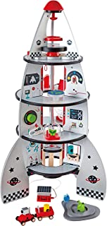 Four Stage Toddler Rocket Ship Playset by Hape | Award Winning Wooden Spaceship Toy with Real Life Space Shuttle Designs, ...