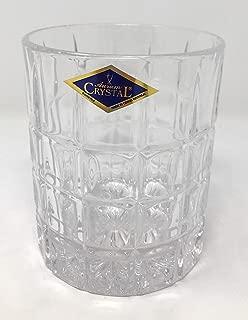 BOHEMIAN CRYSTAL GLASS WHISKEY GLASSES 10oz./300ml. SET of 6 OLD FASHIONED HEAVY BASE ROCKS CUT CRYSTAL GLASS TUMBLERS SCOTCH BOURBON JUICE WATER ELEGANT DESIGN CLASSIC CZECH CRYSTAL GLASS
