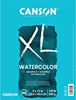 Canson XL Series Watercolor Textured Paper Pad for Paint, Pencil, Ink, Charcoal, Pastel, and Acrylic, Fold Over, 140...