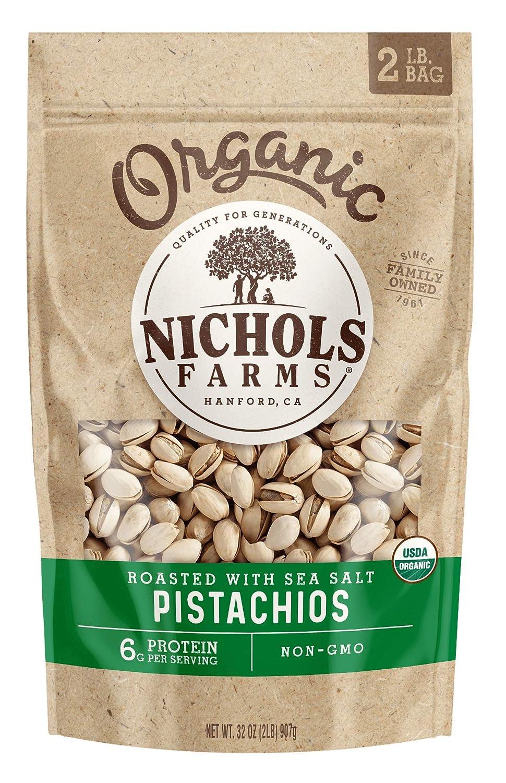 Nichols Farms 2LB Organic Roasted Pistachi Great interest Max 72% OFF Salt Sea Inshell with