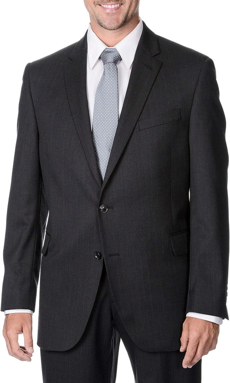 Palm Beach Men's Big & Tall Charcoal Striped 2-Button Wool Blazer 56L