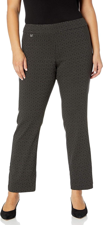 SLIM-SATION Women's Plus Size Pull-on Elastic Waist Boot Cut Jacquard Pant