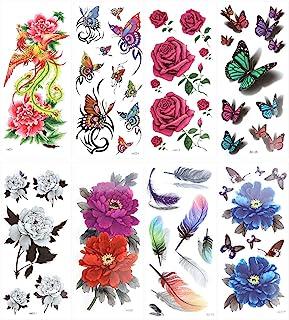 Healifty 8 Sheets Temporary Body Tattoo Rose Flower Butterfly Art Sticker for Women