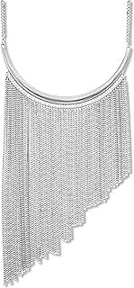 Steve Madden Asymmetrical Chain Fringe Necklace (White)