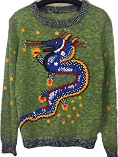 Chinese Dragon Retro Knitted Sweater Women 2019 O-Neck Long Sleeve Embroidery Pullover