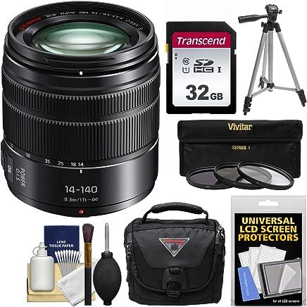Panasonic Lumix DMC - G X Vario 14–140mm f / 3.5–5.6Asph電源OISズームレンズwith 32GBカード+ケース+三脚+ 3フィルタキットfor g7、gf7、gh3、gh4、gm5、gx7、gx8カメラ