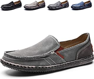 bdc9069be27 CASMAG Men s Casual Cloth Shoes Canvas Slip on Loafers Leisure Vintage Flat  Boat Shoes