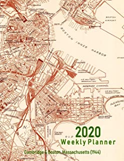 2020 Weekly Planner: Cambridge & Boston, Massachusetts (1944): Vintage Topo Map Cover