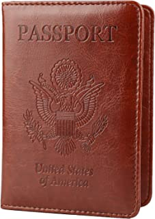 Leather Passport Holder Cover Case RFID Blocking Travel Wallet
