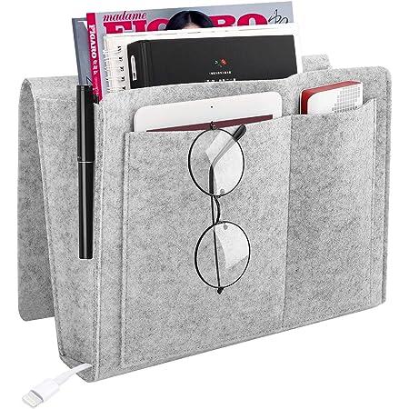 JieGuanG Bedside Storage Pocket Organizer Bag Phone Remote Holder for Home Magazine Light Grey