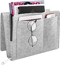 MoKo Bedside Caddy, Soft Felt Bed Hanging Storage/Organizer with Pockets, Magazine Phone Tablet Tissue Holder, Convenient Open Bag for Bedroom, Living Room, Dorm Room, Sofa, Desk - Gray
