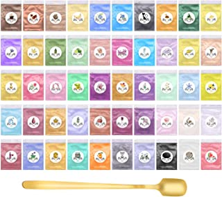 Mica Powder 50 färger epoxiharts färgpigment kosmetisk kvalitet tvål att göra färg för badbomber, ljus och slime tillverkn...