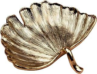 علبة مجوهرات صغيرة من ورقة الجنكو من جيفت جيفت جيفت | لتزيين المنزل والمجوهرات والإكسسوارات الصغيرة (ذهبي / 3.8 سم × 4.4 س...