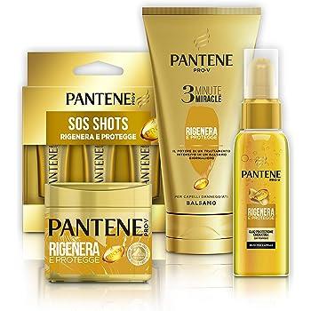 Pantene Set Oro: Balsamo 3 Minute Miracle Rigenera&Protegge (4x150ml), Maschera Protezione Cheratina R&P (4x300ml), Ampolle Sos Shots (6x15 ml), Olio R&P (2x100ml). Idea Regalo S. Valentino