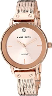 Anne Klein Women's AK/3220 Diamond-Accented Chain Bracelet Watch